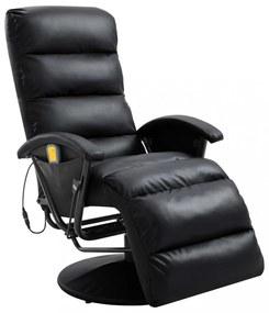 Fekete dönthető, masszírozó műbőr tv-fotel