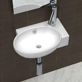 vidaXL Kerámia fürdőszoba mosdókagyló csaptelep és túlfolyó fehér
