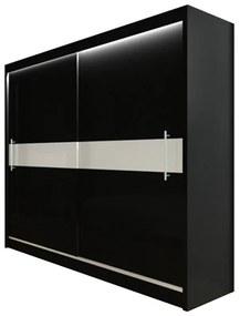 NICOLETTA tolóajtós ruhásszekrény, fekete/fehér üveg, 200x216x61