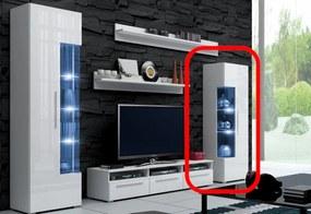 LUGANO alacsony vitrines szekrény, fehér/magasfényű fehér