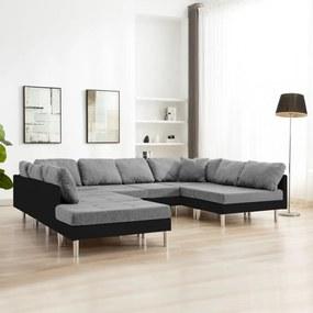 Fekete elemes műbőr kanapé
