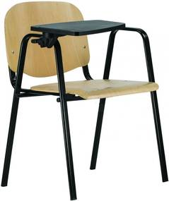 ISO Maxi Wood Néro Konferencia szék fekete fémvázzal, karfával és lehajtható műanyag írólappal