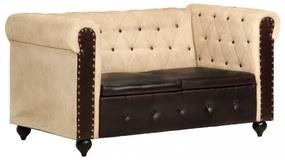2-személyes barna valódi bőr chesterfield-kanapé