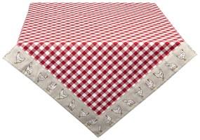 Asztalterítő - Little Chicken - Clayre&Eef Red / 100*100cm
