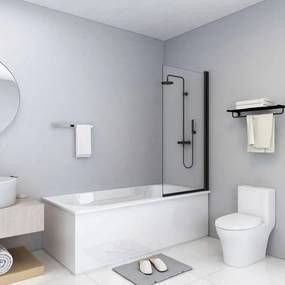 Fekete esg zuhanykabin 68 x 130 cm