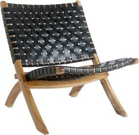 PERUGIA fekete bőr szék