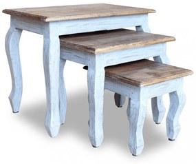 3 részes tömör újrahasznosított fa, egymásba tolható asztal