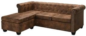 vidaXL L-alakú, barna műbőr Chesterfield kanapé