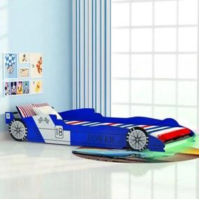 Kék versenyautó alakú led-es gyerekágy 90 x 200 cm