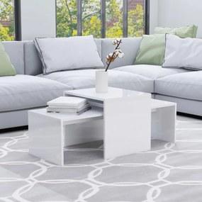 Magasfényű fehér forgácslap dohányzóasztal szett 100x48x40 cm