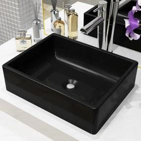 Négyszögletes, fekete kerámia mosdókagyló 41 x 30 x 12 cm