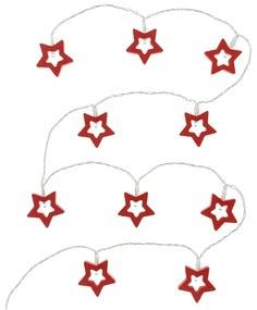 Retlux RXL 285 karácsonyi dekoráció, piros csillagok, 10 LED, meleg fehér