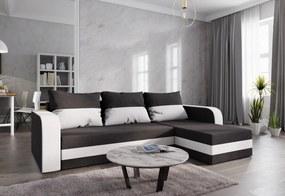 WELTA ágyazható sarok ülőgarnitúra, 237x85x140, fekete/fehér, mikrofáze04/fehér