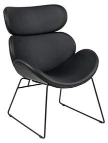 Cazar fekete műbőr fotel - Actona