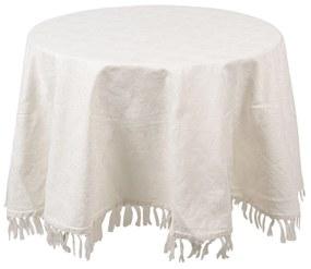 kerek Asztalterítő krém színű dombormintás Jacquard