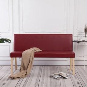 Vörösbor színű műbőr pad 139,5 cm