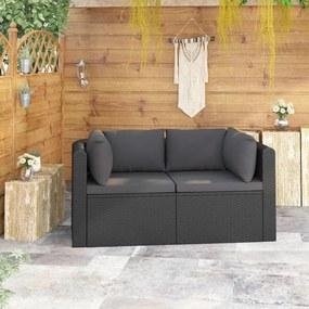 vidaXL 2-részes fekete polyrattan kerti ülőgarnitúra párnákkal