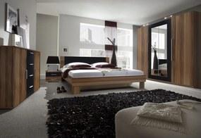 ERA - Hálószoba összeállítás - szekrény (20), ágy 180 + 2x éjjeliszekrény (52), komód (26), piros dió/fekete