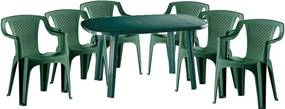 Santorini II. New 6 személyes kerti bútor szett, zöld asztallal, 6 db Palermo zöld székkel