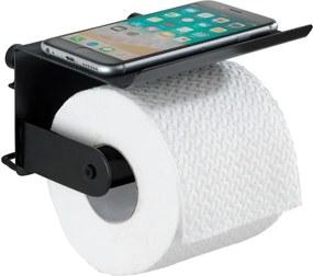 Classic Plus fekete fali wc-papírtartó telefontartóval - Wenko