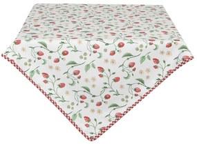 Eper mintás pamut asztalterítő, Wild Strawberries - Clayre-Eef / 100x100cm