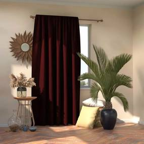 AmeliaHome Blackout Oxford Pleat függöny, burgundy, 140 x 245 cm