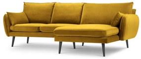 Lento sárga bársony sarokkanapé fekete lábakkal, jobb oldali - Kooko Home