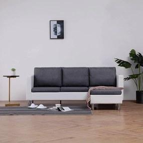vidaXL háromszemélyes fehér műbőr kanapé párnákkal