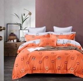 krepp ágyneműhuzat narancs színben smile minta