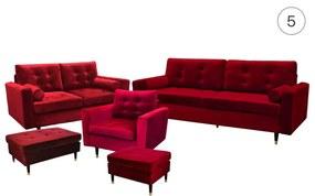 Arzénia 3+2+1 ülőgarnitúra ágyazható, nappali bútor gr004 (bársonyvörös)