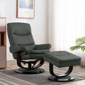Antracitszürke műbőr és hajlított fa dönthető fotel