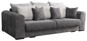 3 személyes kordbársony kanapé, ágyazható, szürke - PORTLAND