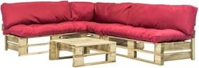 4 db fsc fa kerti raklap kanapé szett piros párnákkal