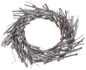 Dekor koszorú vesszőből, átmérő: 40 cm, szürke
