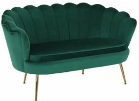 Pad Art-deco stílusban, smaragd Velvet anyag/gold króm-arany, NOBLIN