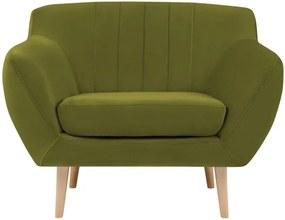 Sardaigne zöld bársony fotel - Mazzini Sofas