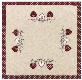 Szívecske abrosz, pöttyös, piros, 85 x 85 cm, 85 x 85 cm