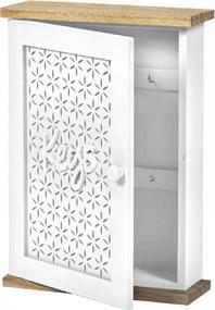 Vintage kulcstartó szekrény, fehér/természetes, DODOMA