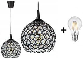 Crystal Ball EKO állítható függőlámpa fekete 1x E27 + ajándék LED izzó
