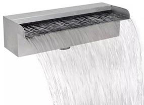 vidaXL Szögletes rozsdamentes acél vízesés medence szökőkút 30 cm