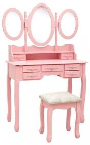 Rózsaszín fésülködőasztal ülőkével és háromrészes tükörrel