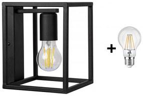 Glimex CAGE fali lámpa fekete 1x E27 + ajándék LED izzó
