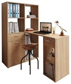 PC asztal könyvespolccal, tölgy sonoma, MINESON