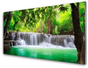 Üvegkép Vízesés Lake Forest Nature 100x50 cm