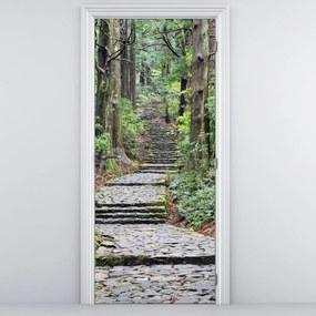 Fotótapéta ajtóra - Lépcső az erdőben (95x205cm)