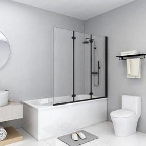 3 paneles fekete esg zuhanyzó összecsukható ajtóval 130x138 cm