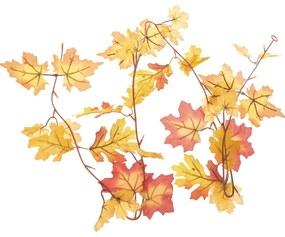 Őszi tölgy és juhar leveles girland, 180 cm