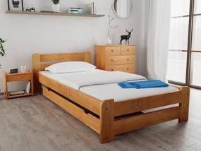 Laura ágy 90x200 cm, égerfa Ágyrács: Deszkás ágyráccsal, Matrac: Somnia 17 cm matraccal