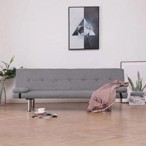 Világosszürke poliészter kanapéágy két párnával