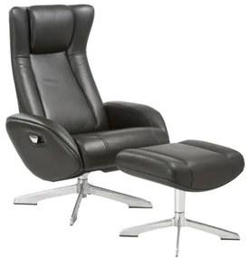 House Nordic - Riga Lounge fotel lábtartóval, fekete bőr